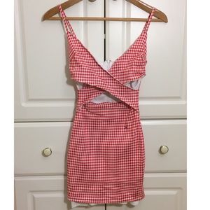 Red and white gingham plaid print cutout dress